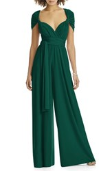 Dessy Collection Plus Size Women's Convertible Wide Leg Jersey Jumpsuit Hunter