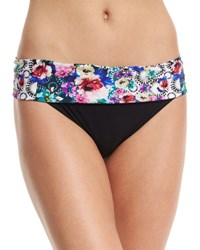 Gottex Fuji Printed Fold Over Swim Bottom Black