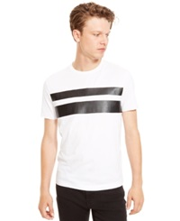 Kenneth Cole Reaction Faux Leather Striped T Shirt White