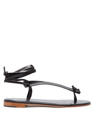 Martiniano Bibiana Ankle Tie Leather Sandals Black