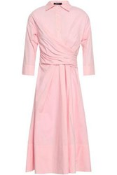 Raoul Pleated Striped Cotton Poplin Midi Shirt Dress Baby Pink