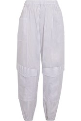 Chalayan Striped Cotton Poplin Tapered Pants White