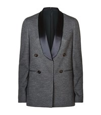 Brunello Cucinelli Satin Lapel Marl Tuxedo Jacket Female Grey