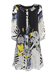 Biba Printed Tie Neck Dress Multi Coloured Multi Coloured