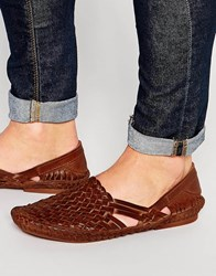 Asos Woven Sandals In Leather Tan