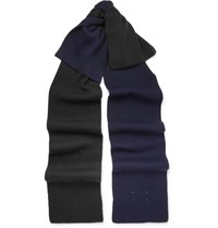 Maison Martin Margiela Two Tone Ribbed Wool Blend Scarf Blue
