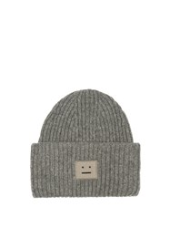 Acne Studios Pansy Ribbed Knit Wool Beanie Hat Dark Grey