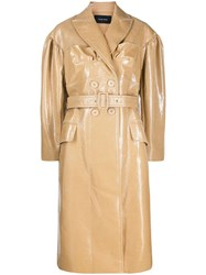 Simone Rocha Belted Double Breasted Trench Coat Neutrals