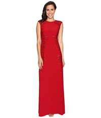 Adrianna Papell Cap Sleeve Jersey Beaded Gown Cardinal Women's Dress Red