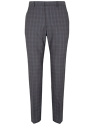 Jaeger Wool Check Modern Suit Trousers Grey