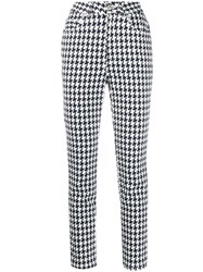 Alexander Mcqueen Houndstooth Print Jeans White