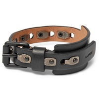 Lanvin Leather And Burnished Metal Bracelet Black