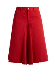Maison Martin Margiela Wide Leg Cropped Jeans Red