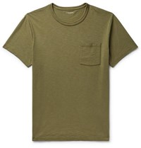 J.Crew Slim Fit Garment Dyed Slub Cotton Jersey T Shirt Army Green