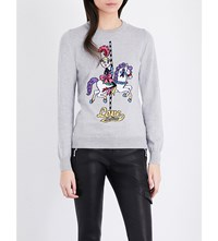 Love Moschino Carousel Horse Knitted Jumper Medium Gray