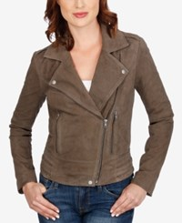 Lucky Brand Leather Moto Jacket Deep Taupe