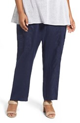 Eileen Fisher Plus Size Women's Organic Linen Cargo Pants Midnight
