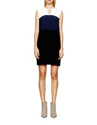 Autograph Addison Colorblock V Back Sheath Dress Black Navy White