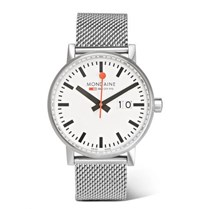 Mondaine Evo Big Date Brushed Stainless Steel Watch Silver