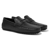 Tod's City Gommino Pebble Grain Leather Penny Loafers Black
