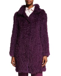 Escada Curly Lamb Fur Long Sleeve Coat Amethyst Purple