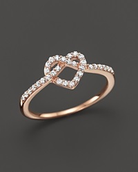 Bloomingdale's Diamond Heart Knot Ring In 14K Rose Gold .25 Ct. T.W.