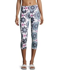 Onzie Graphic Capri Athletic Leggings Multipattern Multi Pattern
