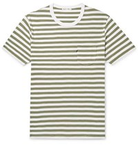 Alex Mill Slim Fit Striped Slub Cotton Jersey T Shirt Army Green