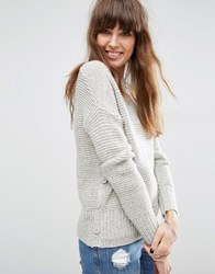 Asos Jumper In Wool Mix With Button Detail Pale Grey Marl