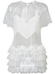 Jonathan Simkhai Tiered Lace Blouse Women Acetate Xs White