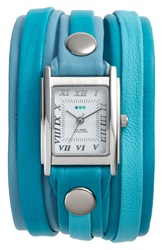 La Mer Mixed Leather Wrap Watch 22Mm Teal Silver