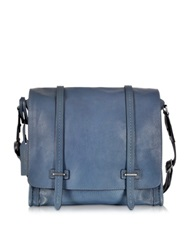The Bridge Ascott Blue Leather Large Messenger Bag