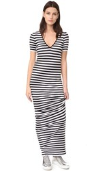 Dsquared Striped Maxi Dress Black White