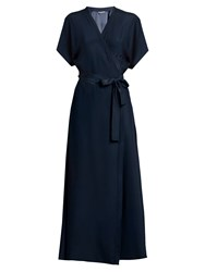 Rhode Resort Jasper Silk Satin Wrap Dress Navy