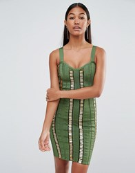 Wow Couture Bandage Dress With Gold Bars Dark Olive Green