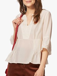 Brora Embroidered Silk Blouse Ivory