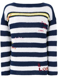 Ermanno Scervino Cashmere Striped Sweater Blue