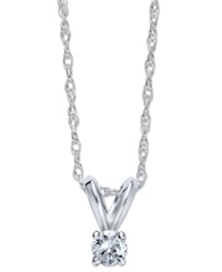 Macy's 10K White Gold Necklace Round Cut Diamond Accent Pendant