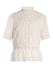 Rebecca Taylor High Neck Lace Trimmed Cotton Voile Top White