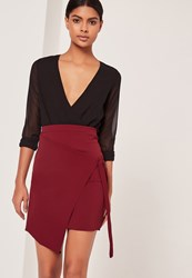 Missguided Crepe Tie Front Wrap Mini Skirt Red Burgundy