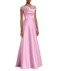 Theia Super Stretch Threadwork Ball Gown Orchid