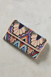 Anthropologie Blue Wings Clutch Navy