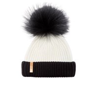 Bklyn Women's Merino Wool Hat With Black Pom Pom White Black