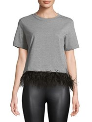 Design Lab Lord And Taylor Feather Trimmed Tee Grey Black