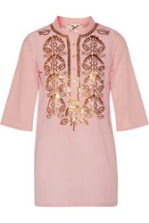 Figue Jasmine Sequin Embellished Cotton Broadcloth Tunic Pastel Pink