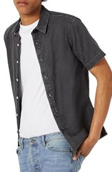 Topman Men's Muscle Fit Denim Shirt Grey