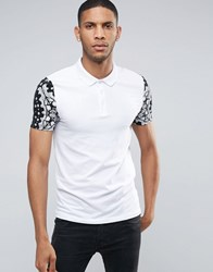 Asos Muscle Polo Shirt In White With Contrast Bandana Print Sleeves White