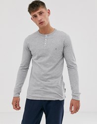 French Connection Long Sleeve Grandad Neck Long Sleeve Top Gray
