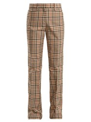 N 21 Mid Rise Straight Leg Checked Cotton Trousers Black Brown