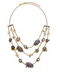 Alexis Bittar Elements Punk Labradorite And Crystal Draped Three Strand Station Necklace Gold Multi